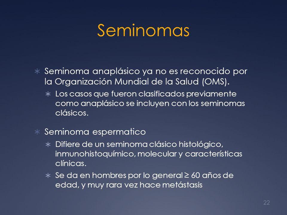 Seminomas Seminoma anaplásico ya no es reconocido por la Organización Mundial de la Salud (OMS). Los casos que fueron clasificados previamente como an