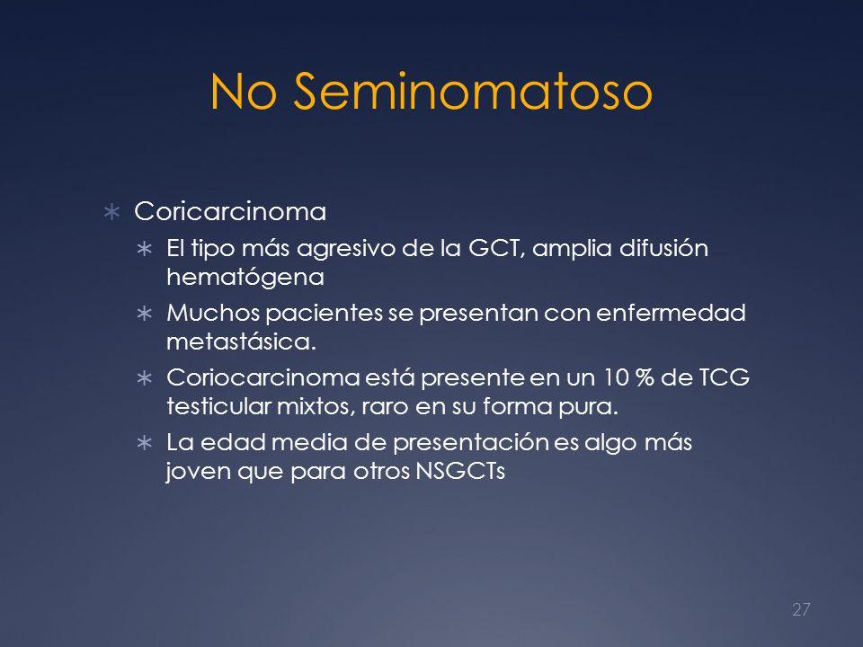 No Seminomatoso Coricarcinoma El tipo más agresivo de la GCT, amplia difusión hematógena Muchos pacientes se presentan con enfermedad metastásica. Cor