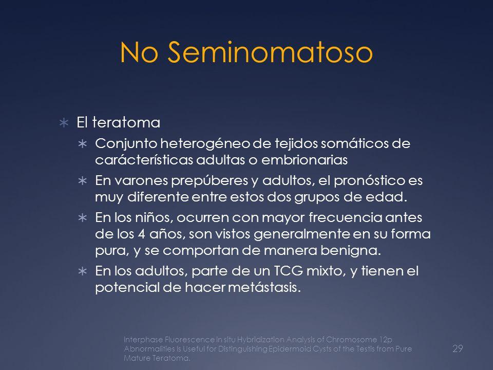 No Seminomatoso El teratoma Conjunto heterogéneo de tejidos somáticos de carácterísticas adultas o embrionarias En varones prepúberes y adultos, el pr
