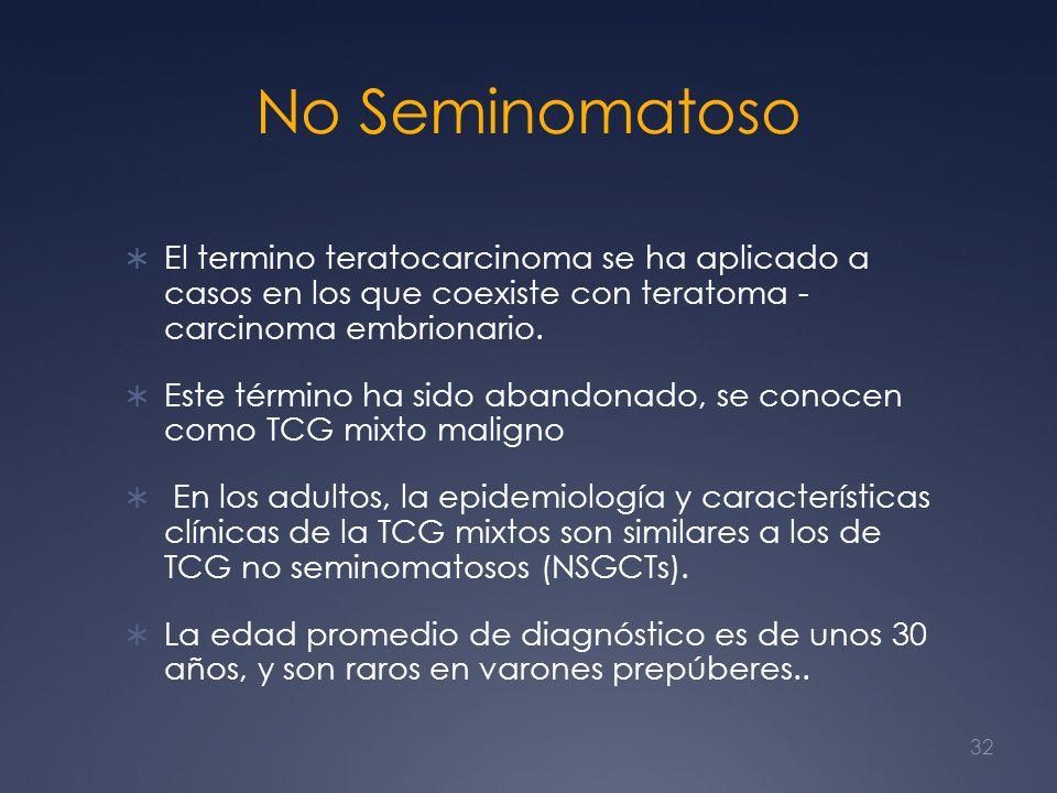 No Seminomatoso El termino teratocarcinoma se ha aplicado a casos en los que coexiste con teratoma - carcinoma embrionario. Este término ha sido aband