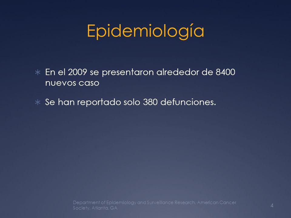 Epidemiología En el 2009 se presentaron alrededor de 8400 nuevos caso Se han reportado solo 380 defunciones. Department of Epidemiology and Surveillan