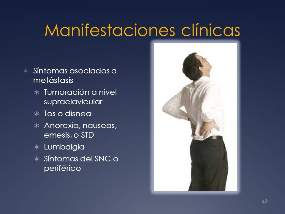 Manifestaciones clínicas Síntomas asociados a metástasis Tumoración a nivel supraclavicular Tos o disnea Anorexia, nauseas, emesis, o STD Lumbalgia Sí