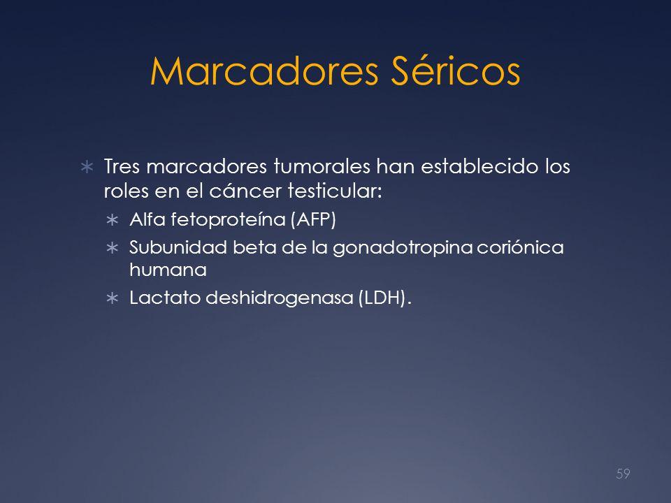 Marcadores Séricos Tres marcadores tumorales han establecido los roles en el cáncer testicular: Alfa fetoproteína (AFP) Subunidad beta de la gonadotro