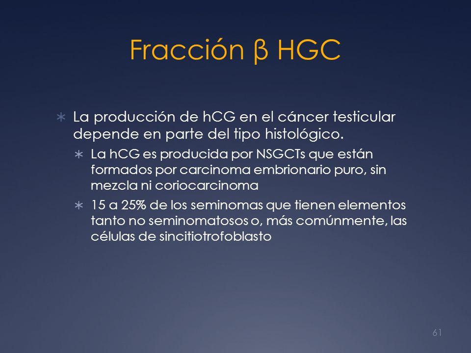 Fracción β HGC La producción de hCG en el cáncer testicular depende en parte del tipo histológico. La hCG es producida por NSGCTs que están formados p