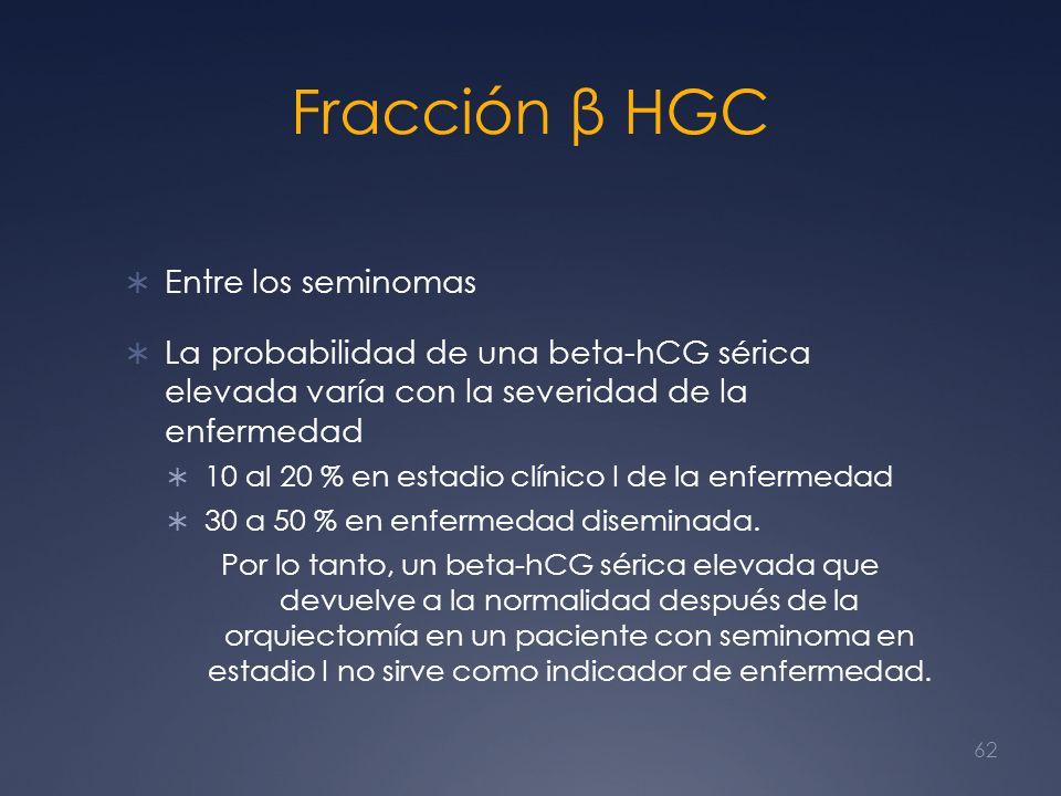 Fracción β HGC Entre los seminomas La probabilidad de una beta-hCG sérica elevada varía con la severidad de la enfermedad 10 al 20 % en estadio clínic