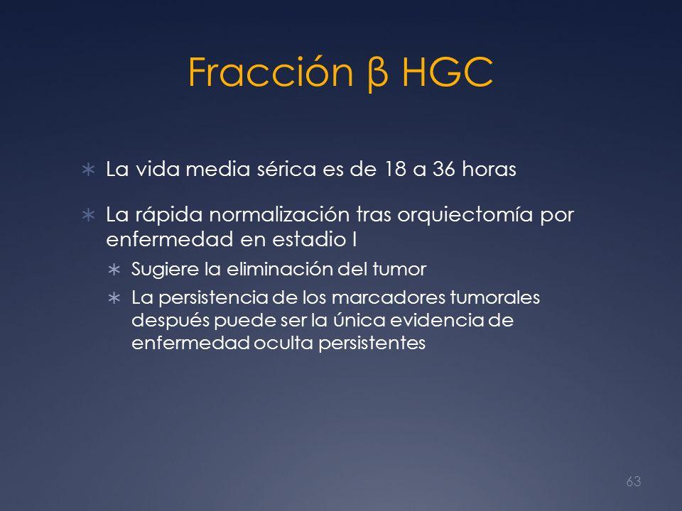 Fracción β HGC La vida media sérica es de 18 a 36 horas La rápida normalización tras orquiectomía por enfermedad en estadio I Sugiere la eliminación d