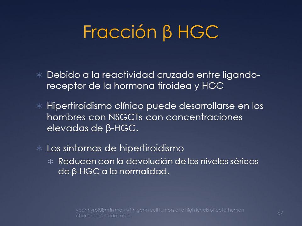 Fracción β HGC Debido a la reactividad cruzada entre ligando- receptor de la hormona tiroidea y HGC Hipertiroidismo clínico puede desarrollarse en los