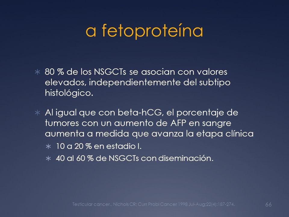 α fetoproteína 80 % de los NSGCTs se asocian con valores elevados, independientemente del subtipo histológico. Al igual que con beta-hCG, el porcentaj