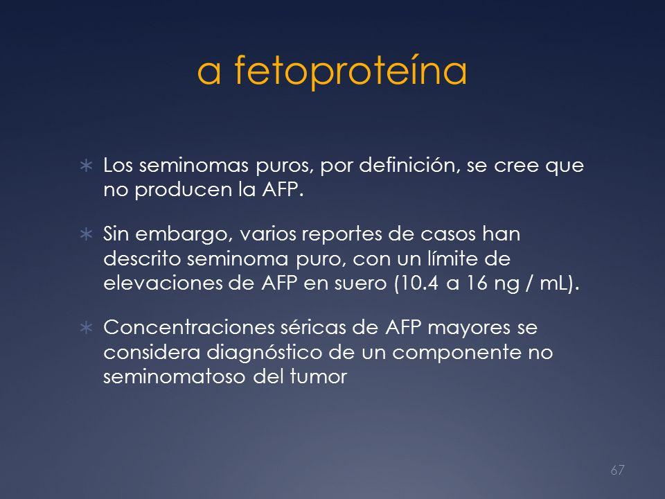α fetoproteína Los seminomas puros, por definición, se cree que no producen la AFP. Sin embargo, varios reportes de casos han descrito seminoma puro,