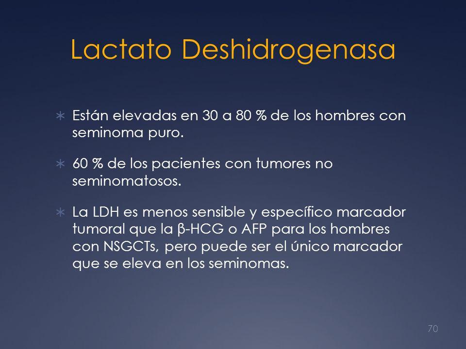 Lactato Deshidrogenasa Están elevadas en 30 a 80 % de los hombres con seminoma puro. 60 % de los pacientes con tumores no seminomatosos. La LDH es men