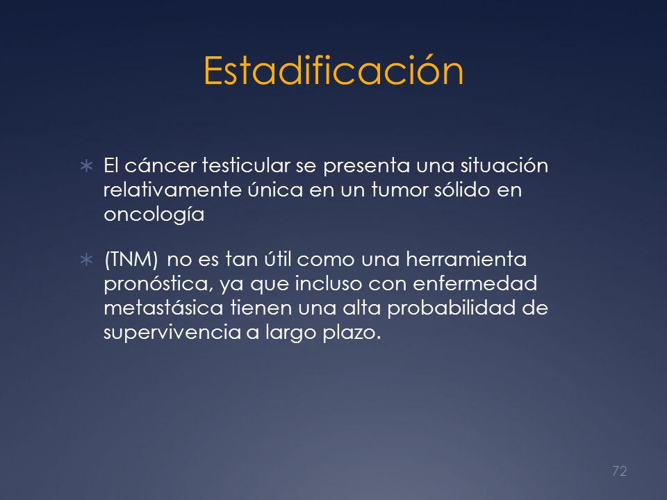 Estadificación El cáncer testicular se presenta una situación relativamente única en un tumor sólido en oncología (TNM) no es tan útil como una herram