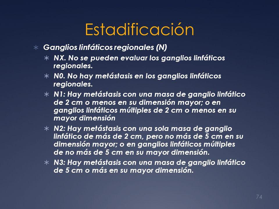 Estadificación Ganglios linfáticos regionales (N) NX. No se pueden evaluar los ganglios linfáticos regionales. N0. No hay metástasis en los ganglios l