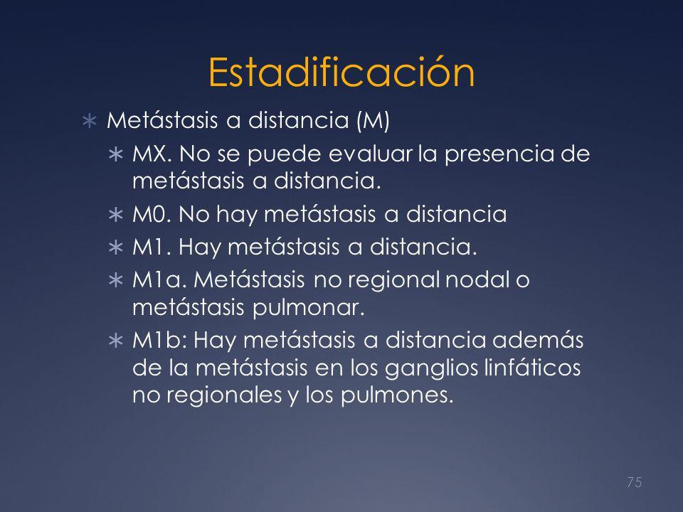 Estadificación Metástasis a distancia (M) MX. No se puede evaluar la presencia de metástasis a distancia. M0. No hay metástasis a distancia M1. Hay me