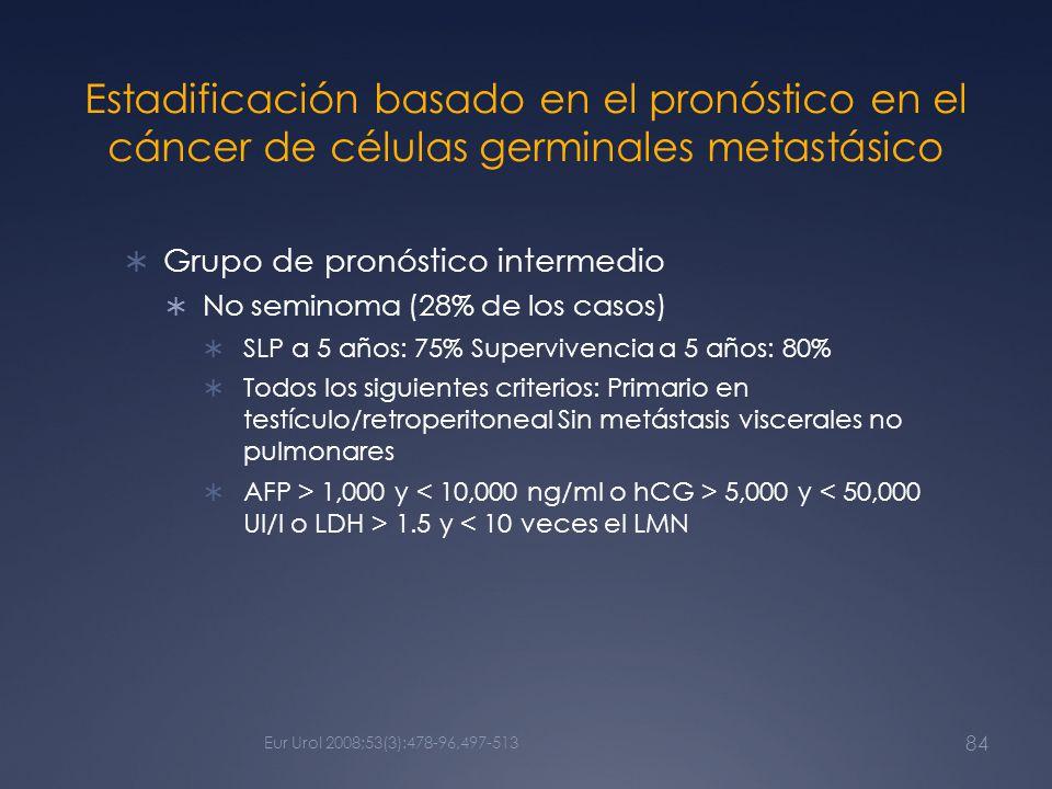 Estadificación basado en el pronóstico en el cáncer de células germinales metastásico Grupo de pronóstico intermedio No seminoma (28% de los casos) SL