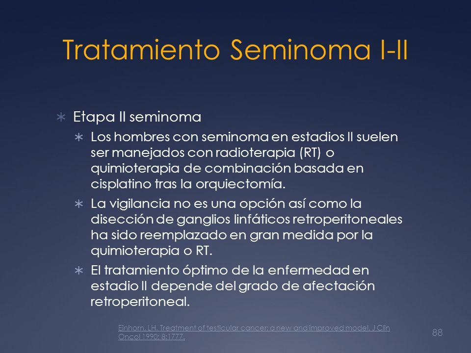 Tratamiento Seminoma I-II Etapa II seminoma Los hombres con seminoma en estadios II suelen ser manejados con radioterapia (RT) o quimioterapia de comb
