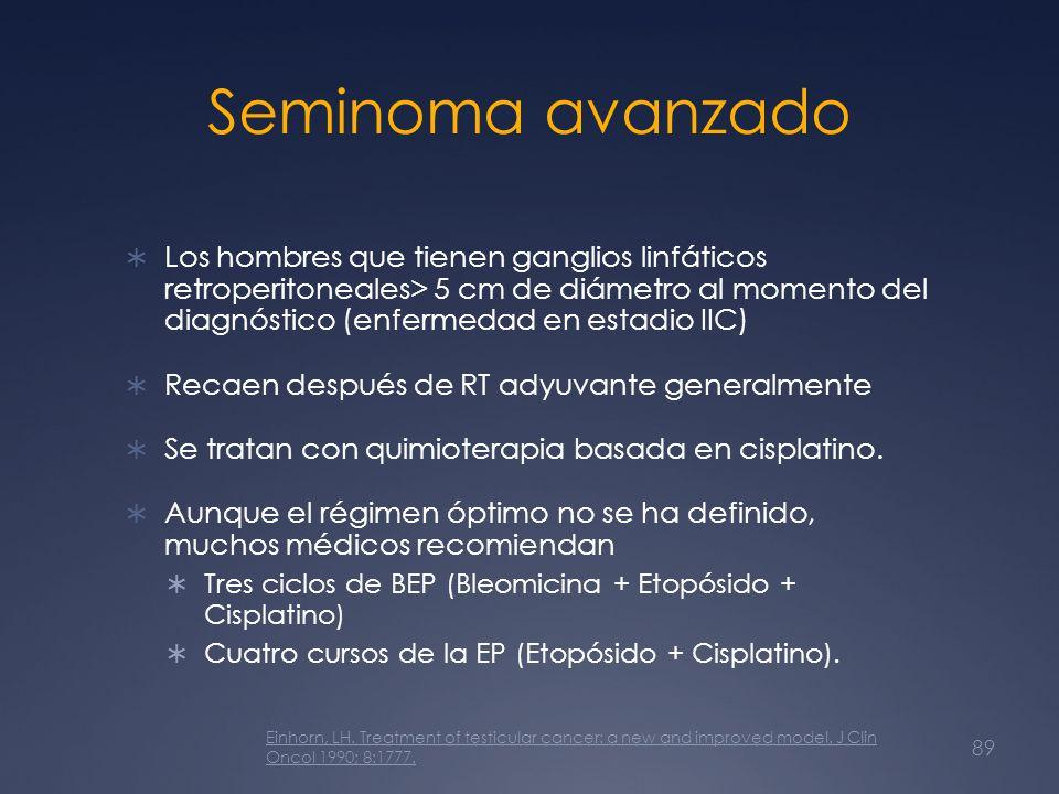 Seminoma avanzado Los hombres que tienen ganglios linfáticos retroperitoneales> 5 cm de diámetro al momento del diagnóstico (enfermedad en estadio IIC