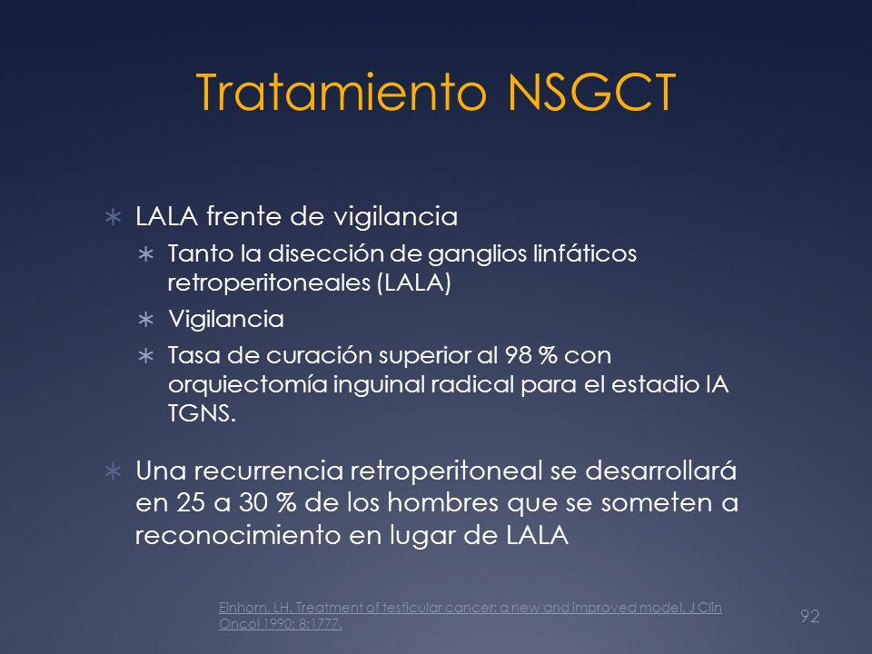 Tratamiento NSGCT LALA frente de vigilancia Tanto la disección de ganglios linfáticos retroperitoneales (LALA) Vigilancia Tasa de curación superior al