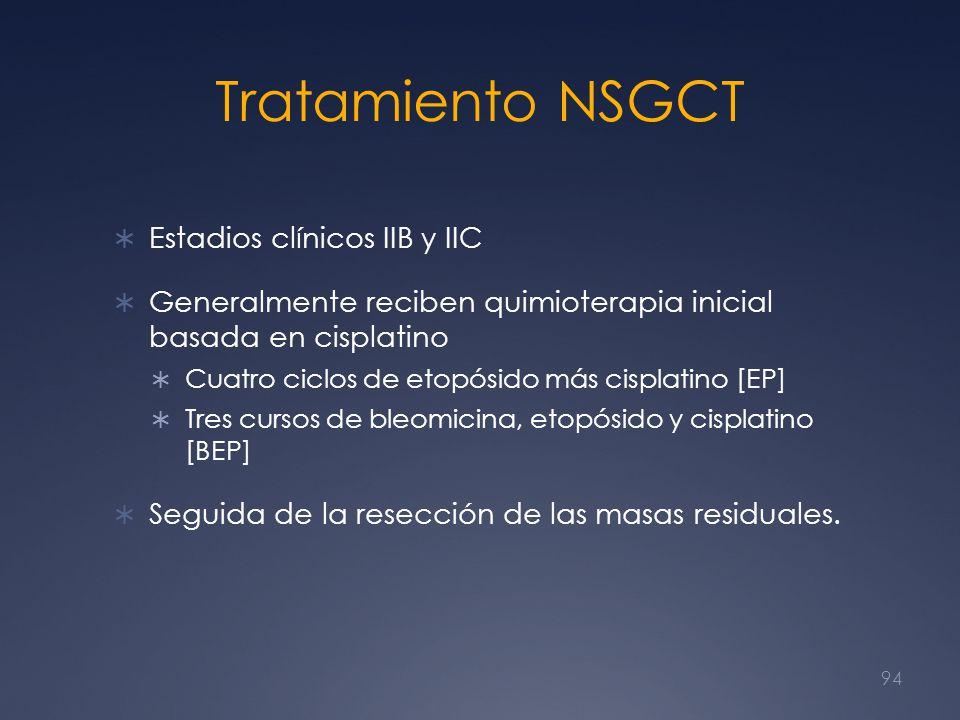 Tratamiento NSGCT Estadios clínicos IIB y IIC Generalmente reciben quimioterapia inicial basada en cisplatino Cuatro ciclos de etopósido más cisplatin