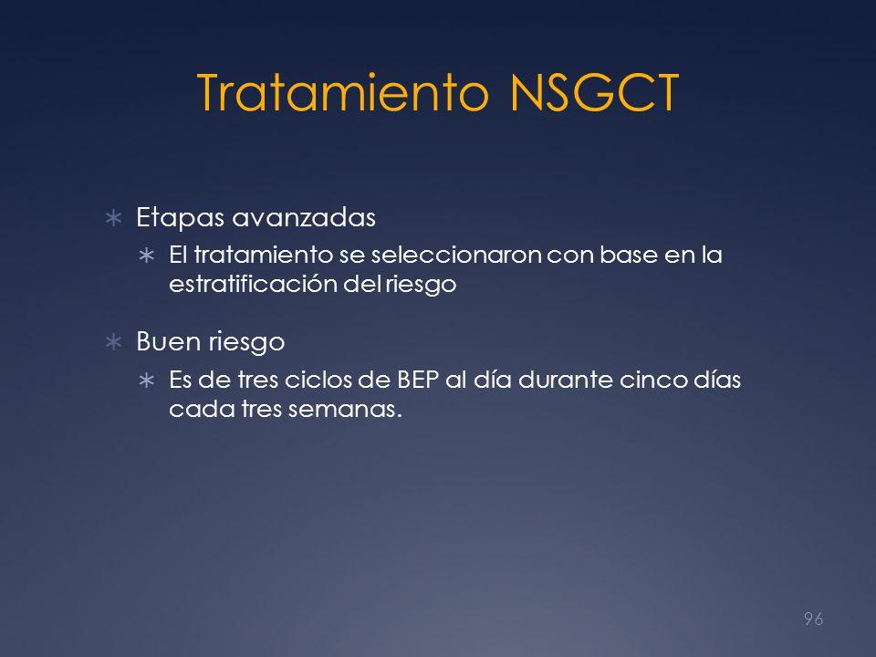 Tratamiento NSGCT Etapas avanzadas El tratamiento se seleccionaron con base en la estratificación del riesgo Buen riesgo Es de tres ciclos de BEP al d