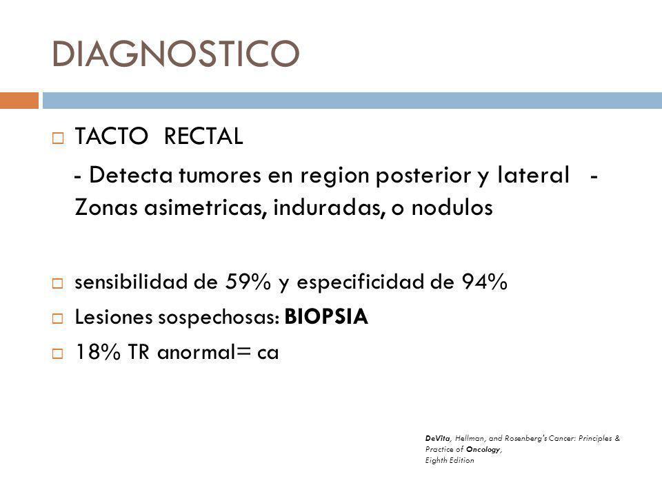DIAGNOSTICO TACTO RECTAL - Detecta tumores en region posterior y lateral - Zonas asimetricas, induradas, o nodulos sensibilidad de 59% y especificidad