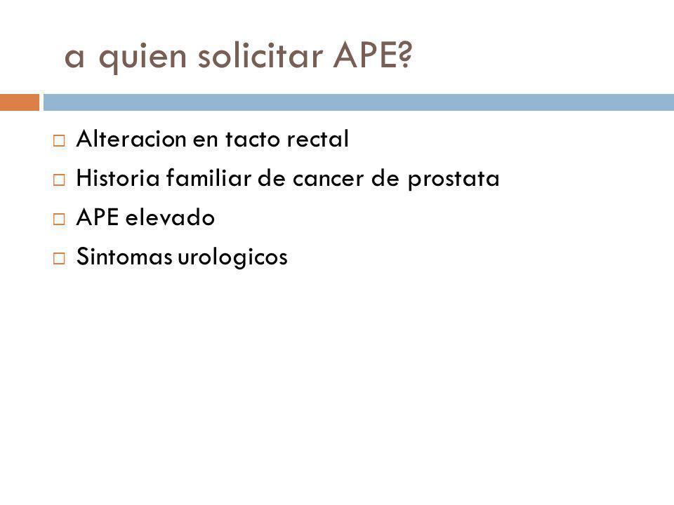 a quien solicitar APE? Alteracion en tacto rectal Historia familiar de cancer de prostata APE elevado Sintomas urologicos