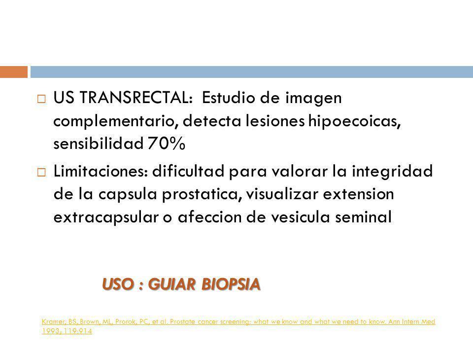US TRANSRECTAL: Estudio de imagen complementario, detecta lesiones hipoecoicas, sensibilidad 70% Limitaciones: dificultad para valorar la integridad d