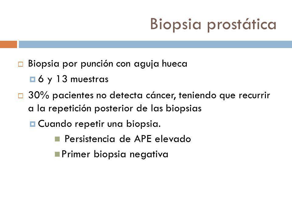 Biopsia prostática Biopsia por punción con aguja hueca 6 y 13 muestras 30% pacientes no detecta cáncer, teniendo que recurrir a la repetición posterior de las biopsias Cuando repetir una biopsia.