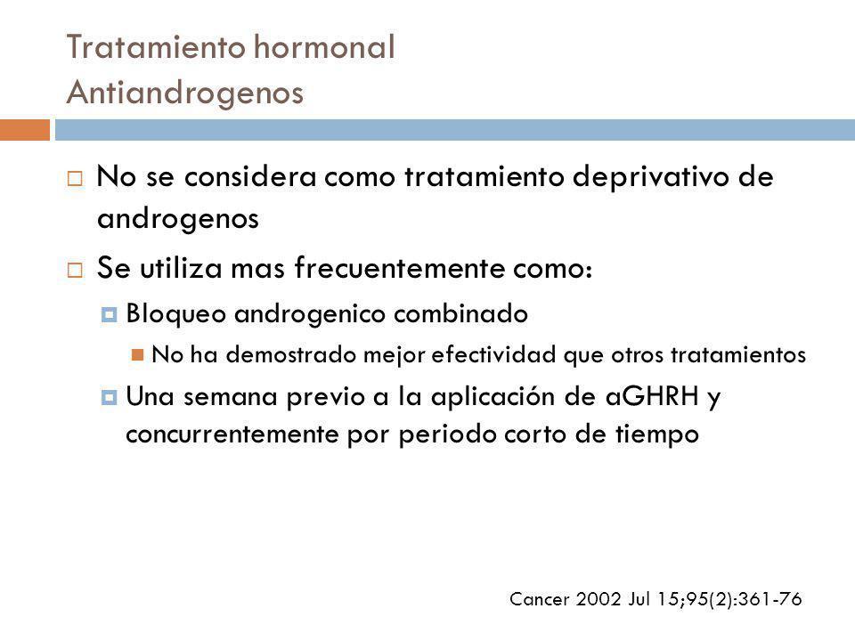 Tratamiento hormonal Antiandrogenos No se considera como tratamiento deprivativo de androgenos Se utiliza mas frecuentemente como: Bloqueo androgenico combinado No ha demostrado mejor efectividad que otros tratamientos Una semana previo a la aplicación de aGHRH y concurrentemente por periodo corto de tiempo Cancer 2002 Jul 15;95(2):361-76