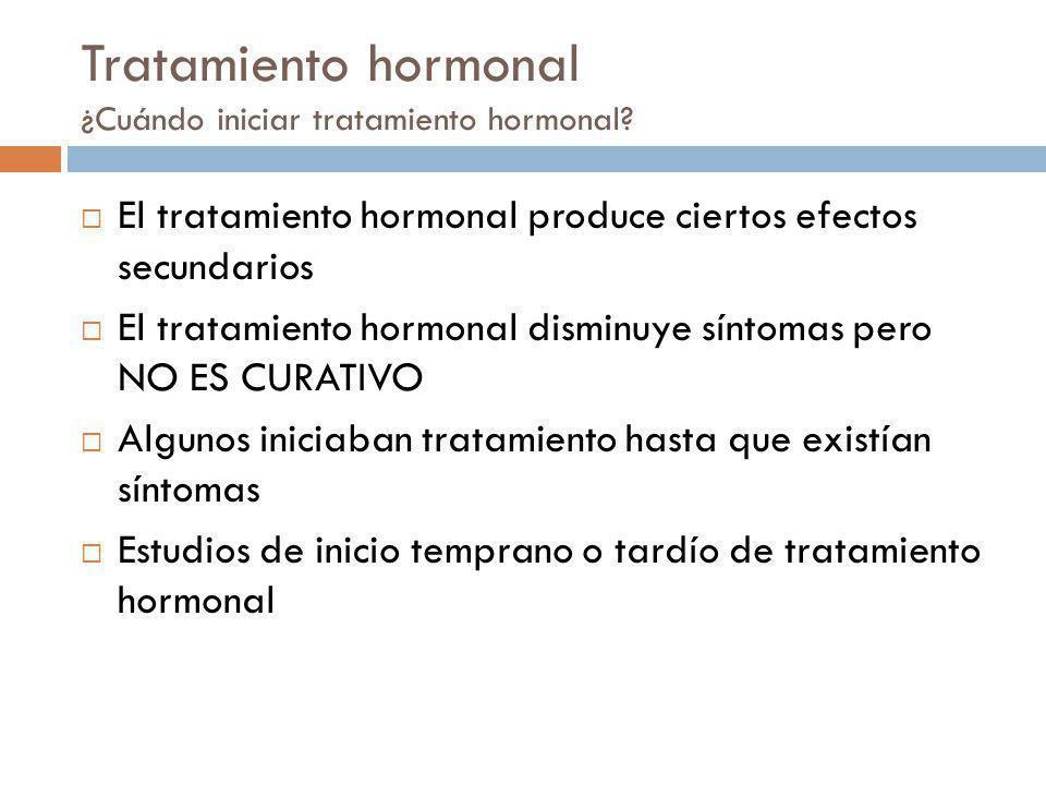 Tratamiento hormonal ¿Cuándo iniciar tratamiento hormonal? El tratamiento hormonal produce ciertos efectos secundarios El tratamiento hormonal disminu