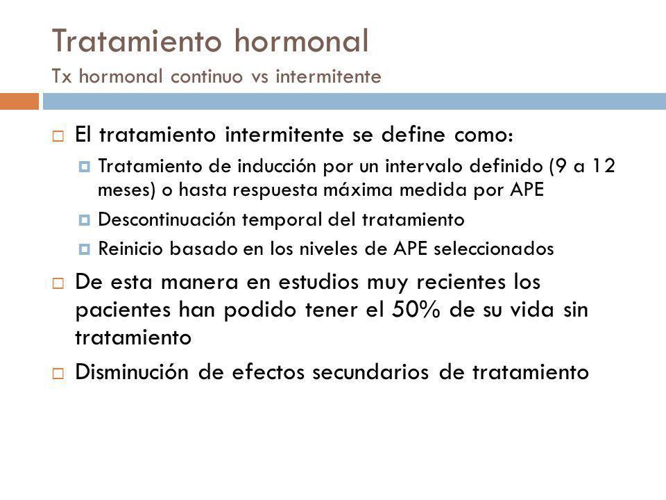 Tratamiento hormonal Tx hormonal continuo vs intermitente El tratamiento intermitente se define como: Tratamiento de inducción por un intervalo defini