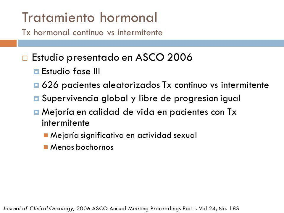Tratamiento hormonal Tx hormonal continuo vs intermitente Journal of Clinical Oncology, 2006 ASCO Annual Meeting Proceedings Part I. Vol 24, No. 18S E