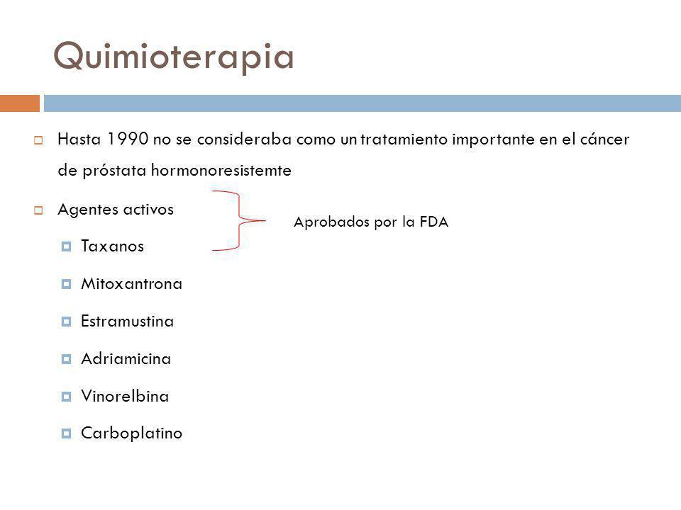 Quimioterapia Hasta 1990 no se consideraba como un tratamiento importante en el cáncer de próstata hormonoresistemte Agentes activos Taxanos Mitoxantrona Estramustina Adriamicina Vinorelbina Carboplatino Aprobados por la FDA