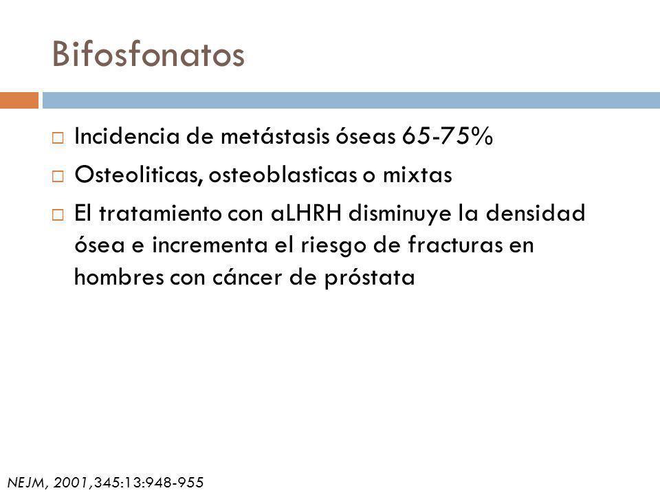 Bifosfonatos Incidencia de metástasis óseas 65-75% Osteoliticas, osteoblasticas o mixtas El tratamiento con aLHRH disminuye la densidad ósea e incrementa el riesgo de fracturas en hombres con cáncer de próstata NEJM, 2001,345:13:948-955