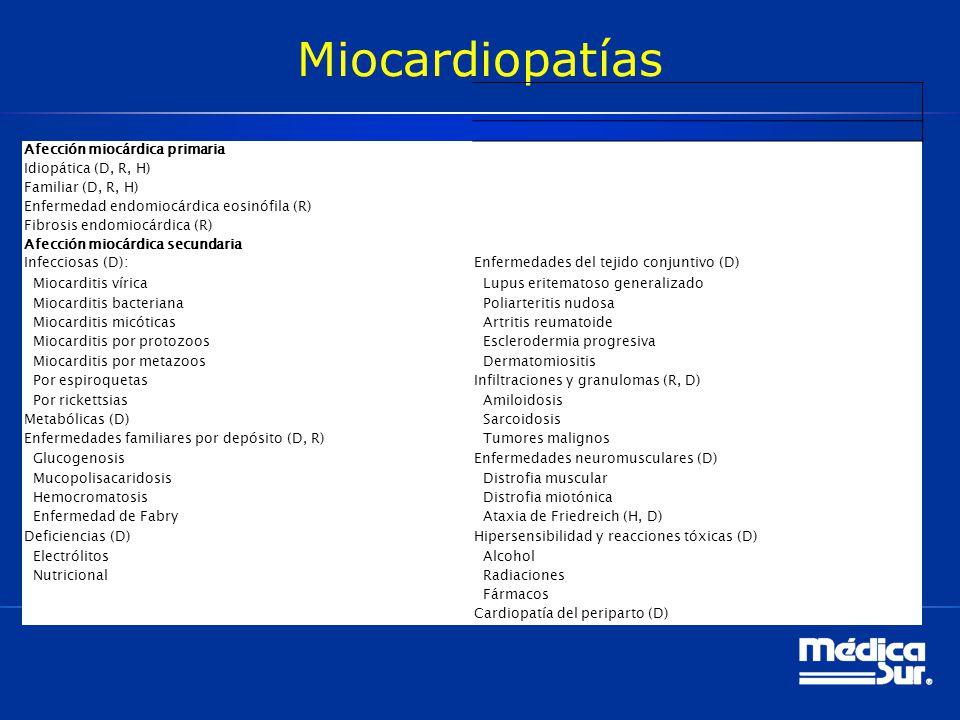 Miocardiopatías Afección miocárdica primaria Idiopática (D, R, H) Familiar (D, R, H) Enfermedad endomiocárdica eosinófila (R) Fibrosis endomiocárdica
