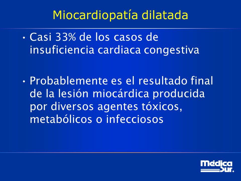 Miocardiopatía dilatada Casi 33% de los casos de insuficiencia cardiaca congestiva Probablemente es el resultado final de la lesión miocárdica produci