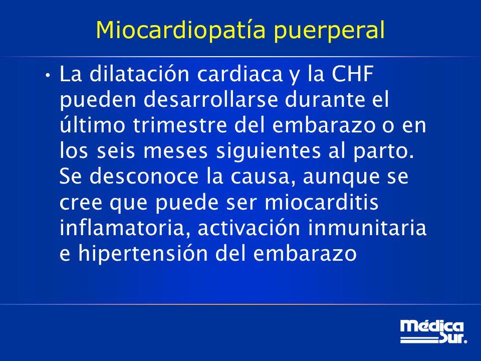 Miocardiopatía puerperal La dilatación cardiaca y la CHF pueden desarrollarse durante el último trimestre del embarazo o en los seis meses siguientes