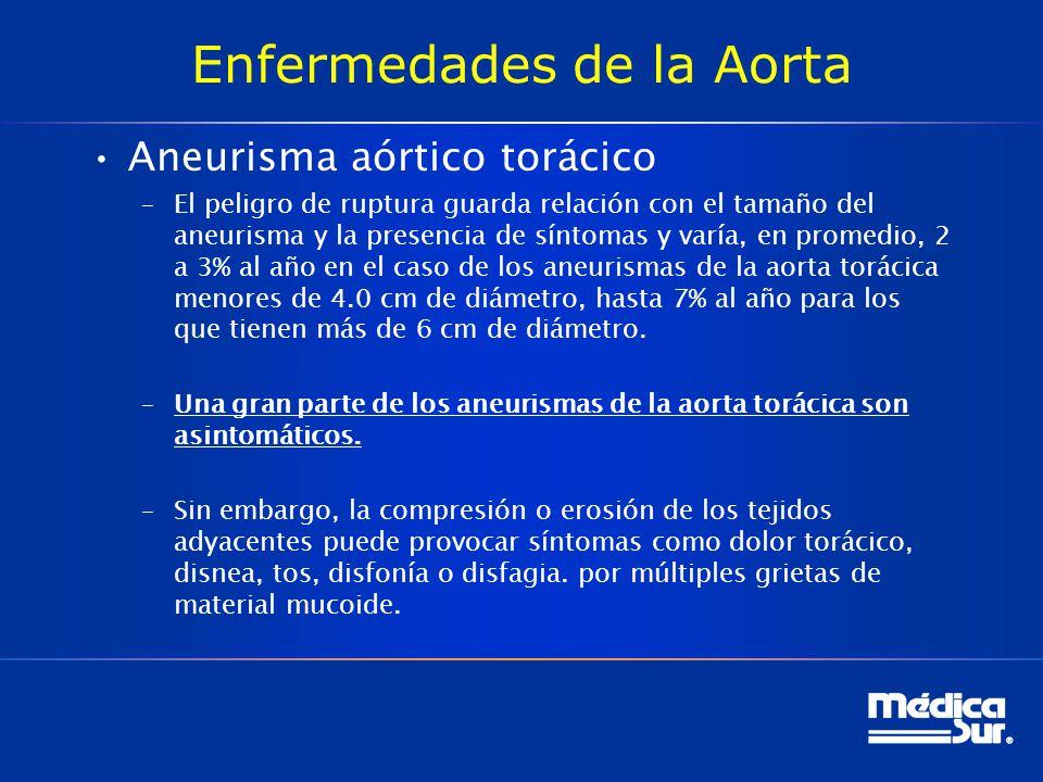 Enfermedades de la Aorta Aneurisma aórtico torácico –El peligro de ruptura guarda relación con el tamaño del aneurisma y la presencia de síntomas y va