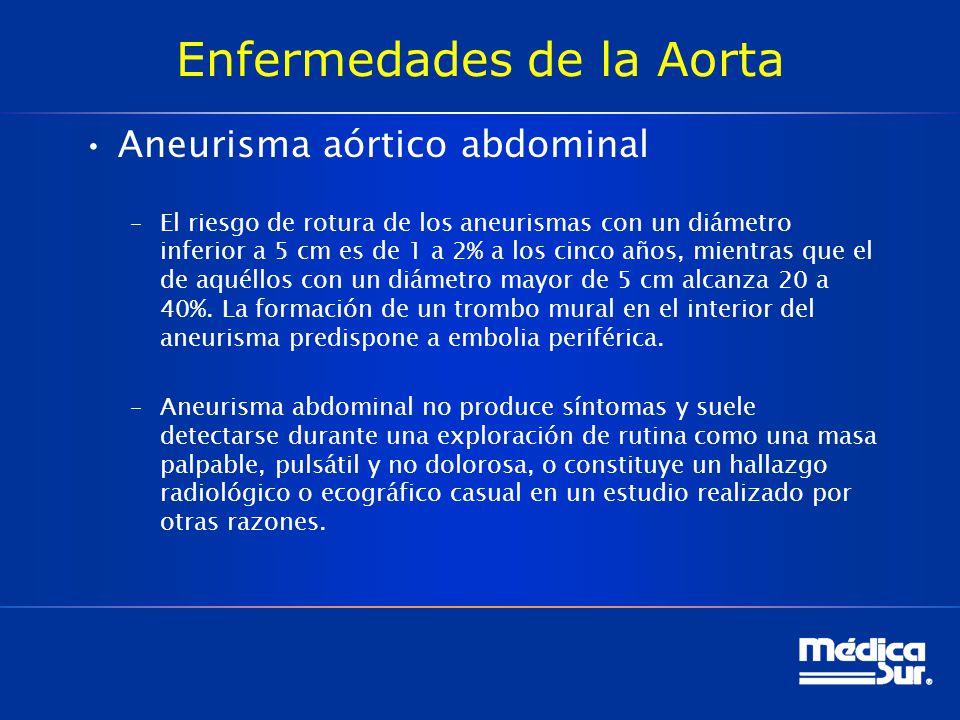 Enfermedades de la Aorta Aneurisma aórtico abdominal –El riesgo de rotura de los aneurismas con un diámetro inferior a 5 cm es de 1 a 2% a los cinco a
