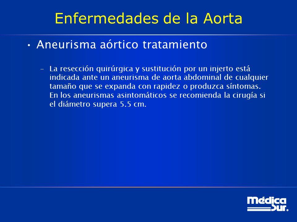 Enfermedades de la Aorta Aneurisma aórtico tratamiento –La resección quirúrgica y sustitución por un injerto está indicada ante un aneurisma de aorta