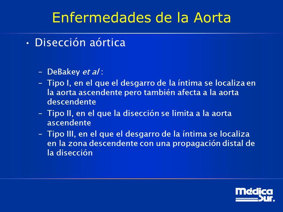 Enfermedades de la Aorta Disección aórtica –DeBakey et al : –Tipo I, en el que el desgarro de la íntima se localiza en la aorta ascendente pero tambié