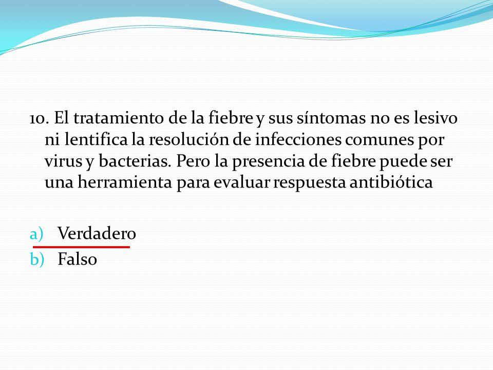 10. El tratamiento de la fiebre y sus síntomas no es lesivo ni lentifica la resolución de infecciones comunes por virus y bacterias. Pero la presencia
