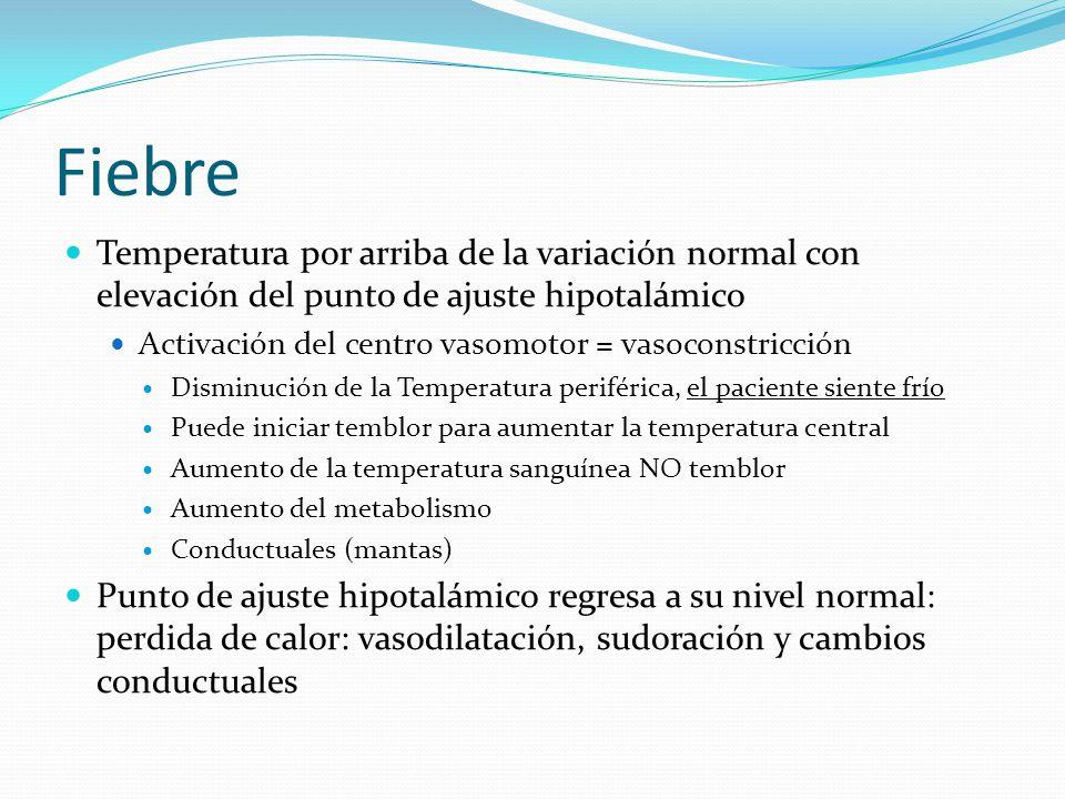 Fiebre Temperatura por arriba de la variación normal con elevación del punto de ajuste hipotalámico Activación del centro vasomotor = vasoconstricción