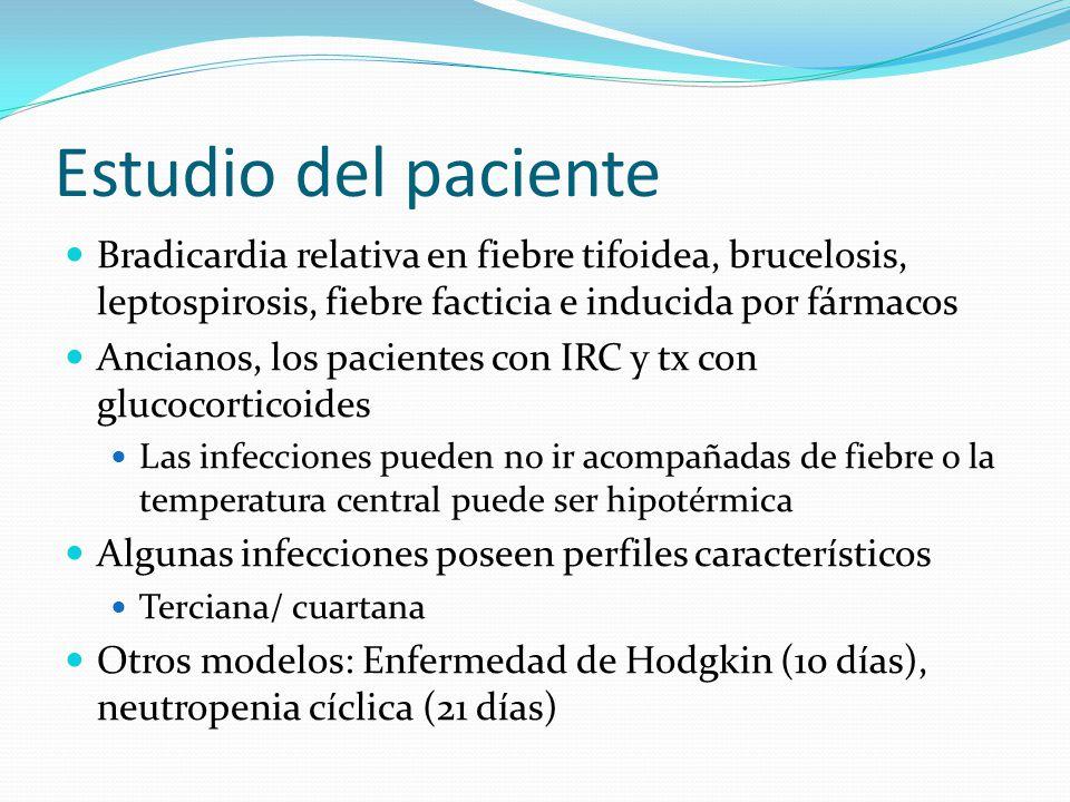 Estudio del paciente Bradicardia relativa en fiebre tifoidea, brucelosis, leptospirosis, fiebre facticia e inducida por fármacos Ancianos, los pacient