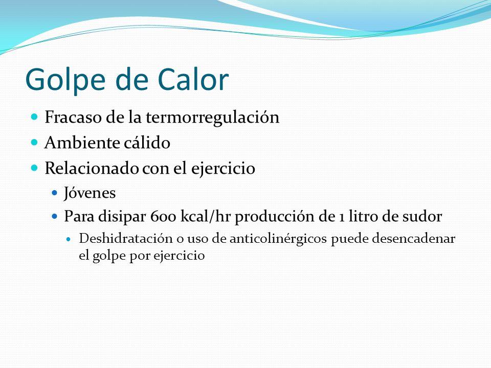 Golpe de Calor Fracaso de la termorregulación Ambiente cálido Relacionado con el ejercicio Jóvenes Para disipar 600 kcal/hr producción de 1 litro de s