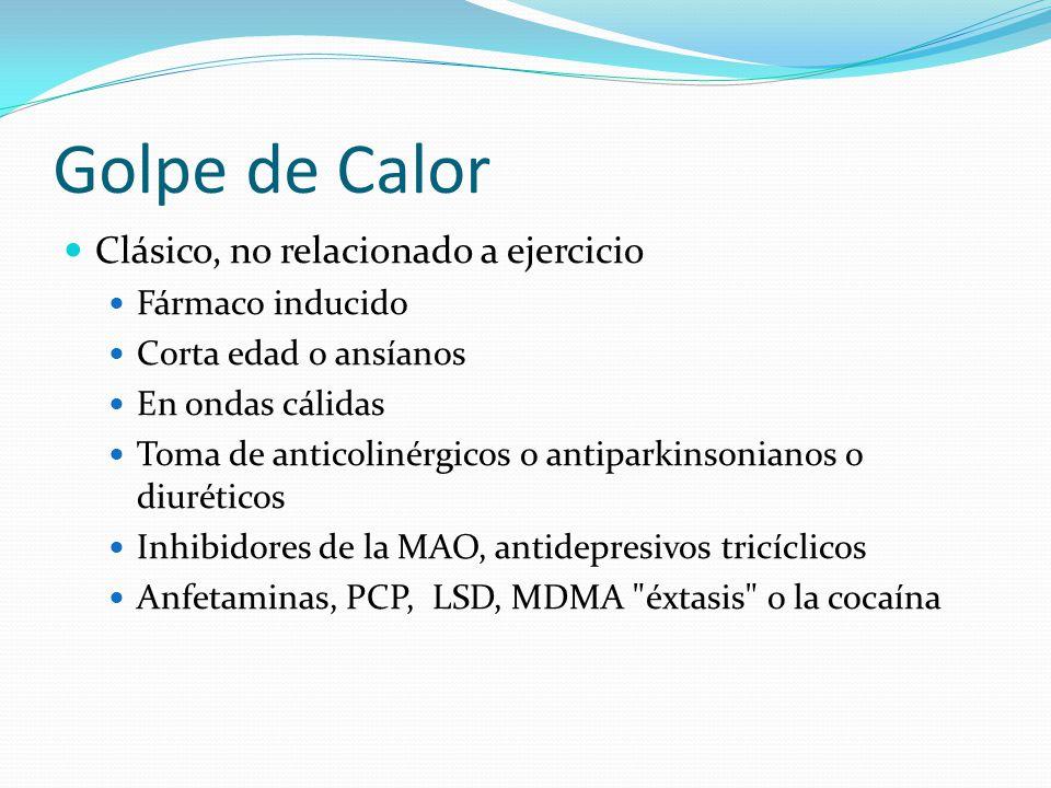 Golpe de Calor Clásico, no relacionado a ejercicio Fármaco inducido Corta edad o ansíanos En ondas cálidas Toma de anticolinérgicos o antiparkinsonian