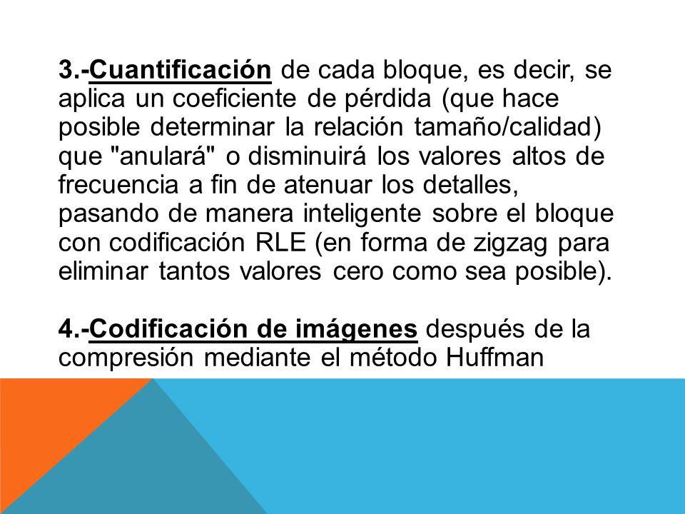 3.-Cuantificación de cada bloque, es decir, se aplica un coeficiente de pérdida (que hace posible determinar la relación tamaño/calidad) que