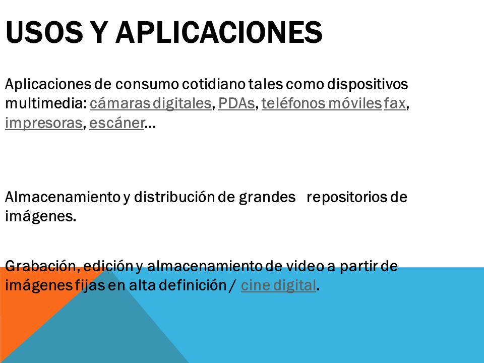 USOS Y APLICACIONES Aplicaciones de consumo cotidiano tales como dispositivos multimedia: cámaras digitales, PDAs, teléfonos móviles fax, impresoras,