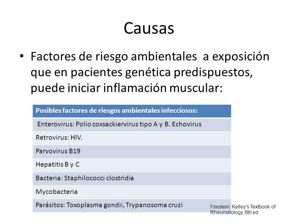 Causas Factores de riesgo ambientales a exposición que en pacientes genética predispuestos, puede iniciar inflamación muscular: Posibles factores de r