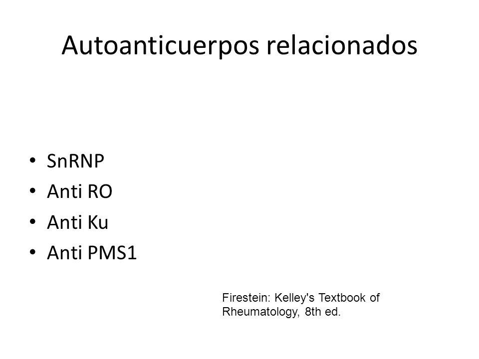 Autoanticuerpos relacionados SnRNP Anti RO Anti Ku Anti PMS1 Firestein: Kelley's Textbook of Rheumatology, 8th ed.