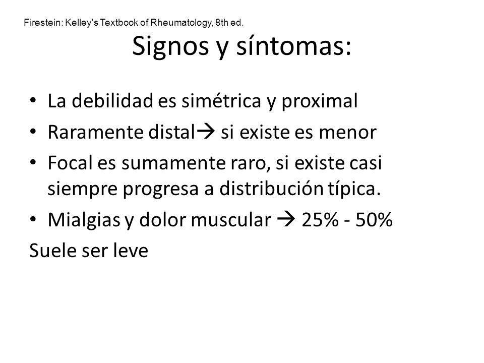 Signos y síntomas: La debilidad es simétrica y proximal Raramente distal si existe es menor Focal es sumamente raro, si existe casi siempre progresa a